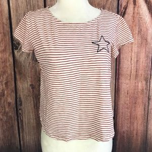 W5 Anthropologie Stripe Star Embroidered Crop Top